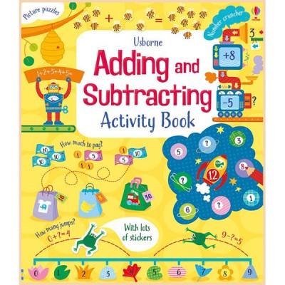 Детская книга со стикерами Usborne Adding and Subtracting