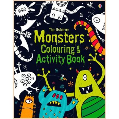 Детская книга-раскраска Usborne Monsters Colouring and Activity Book