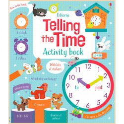 Детская книга со стикерами Usborne Telling the Time Activity Book