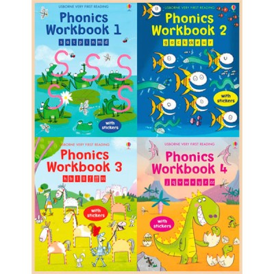 Детская коллекция книг со стикерами Usborne Phonic Workbook: Very First Reading (4 Books)