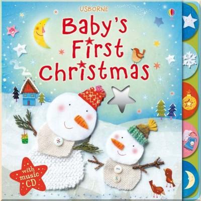 Детская книга с тактильными ощущениями Usborne Baby's first Christmas with music CD (с аудиодиском)