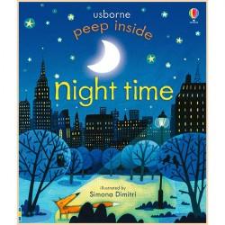 Детская книга Usborne Peep Inside Night Time (с окошками)