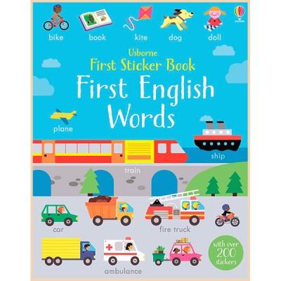 Детская книга со стикерами Usborne First Sticker Book: First English Words