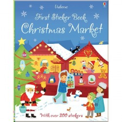 Детская книга со стикерами Usborne First Sticker Book: Christmas Market