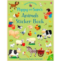 Детская книга со стикерами Usborne Poppy and Sam's Animals Sticker book