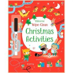 Детская книга с маркером Usborne Wipe-clean Christmas Activities