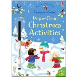 Детская книга с маркером Usborne Poppy and Sam's Wipe-Clean Christmas Activities